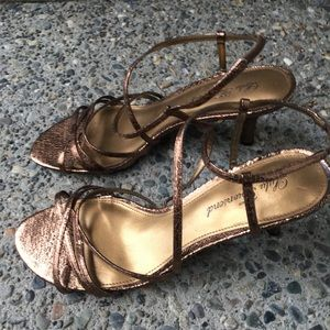 Lulu Townsend metallic kitten heel sandals 9.5